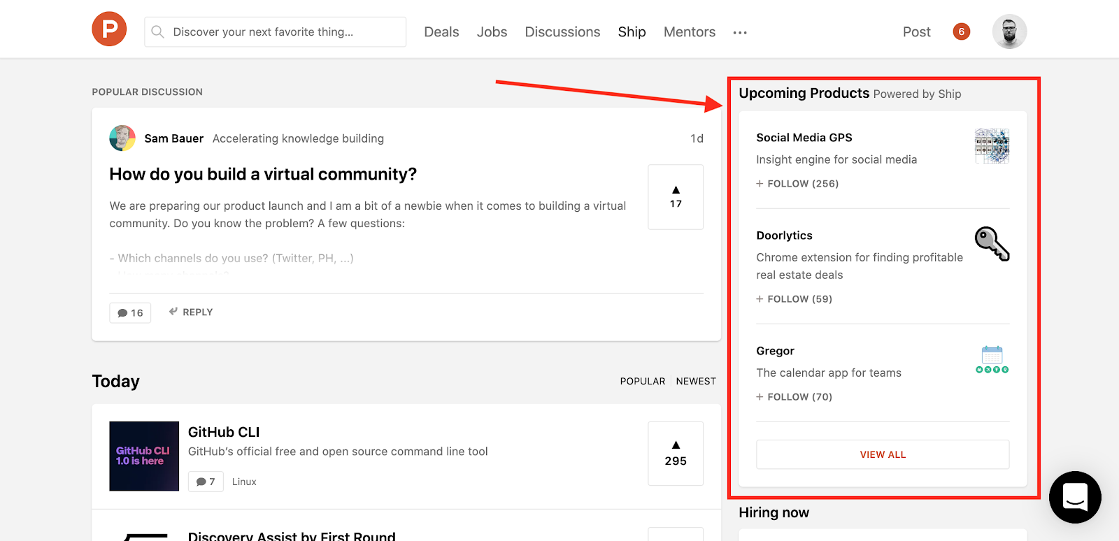The Product Hunt Ship pages show up as upcoming products on the front page