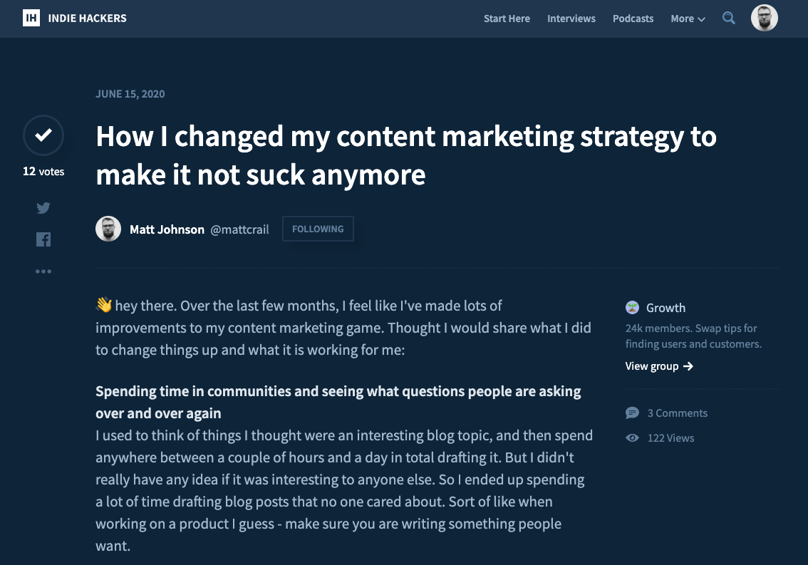 Content Marketing Tips on Indie Hackers
