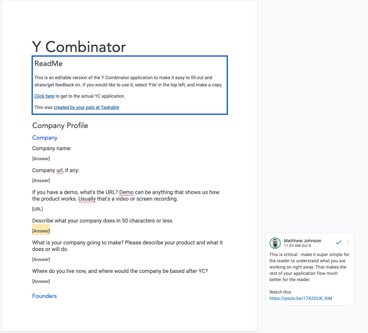Y Combinator Application in Google Docs form