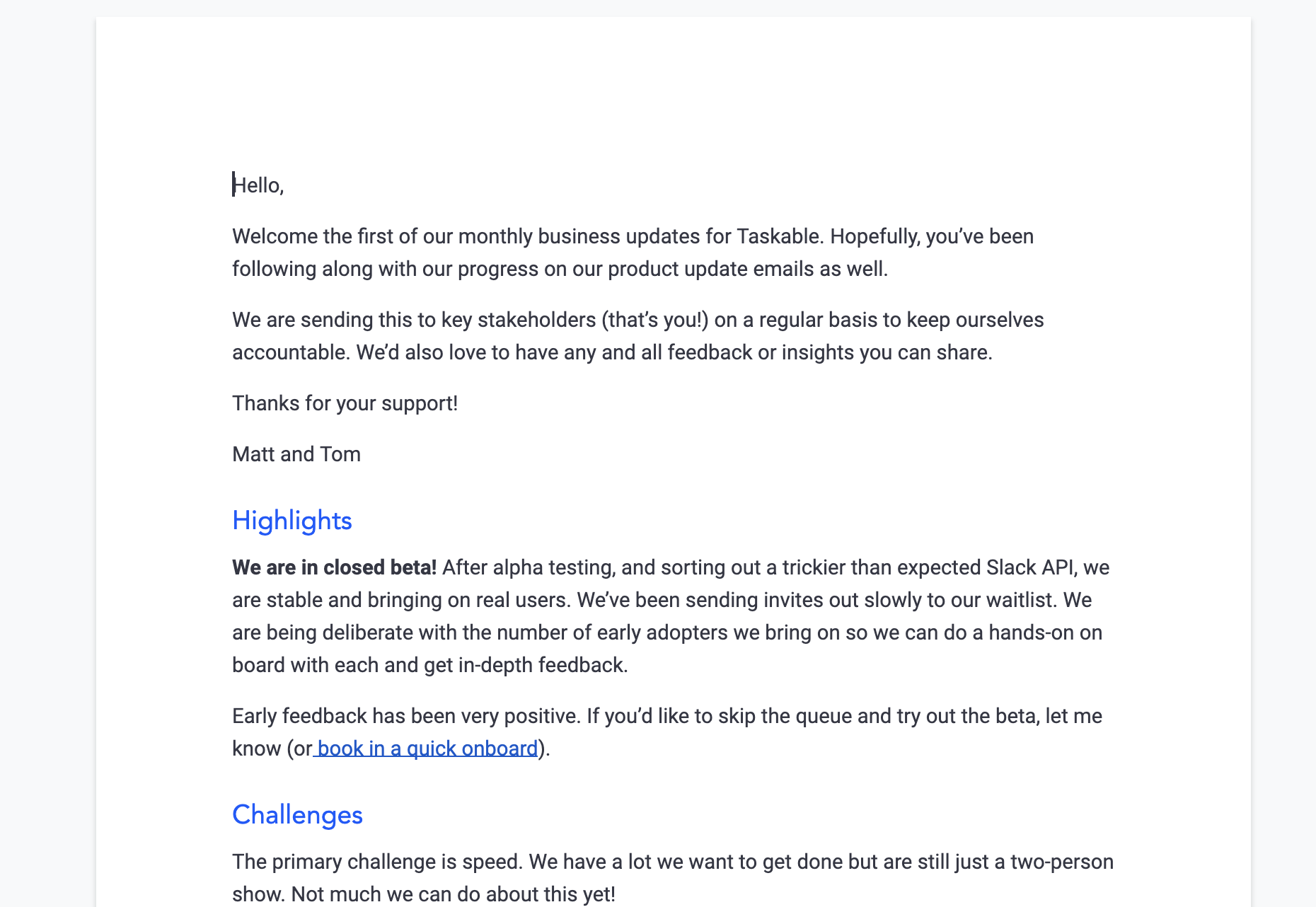 Our first investor update for Taskable from March 2020