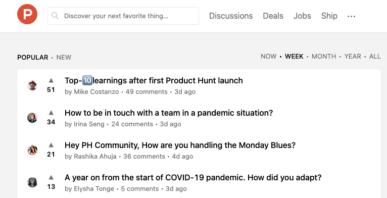 Tech Communities Product Hunt Discussions