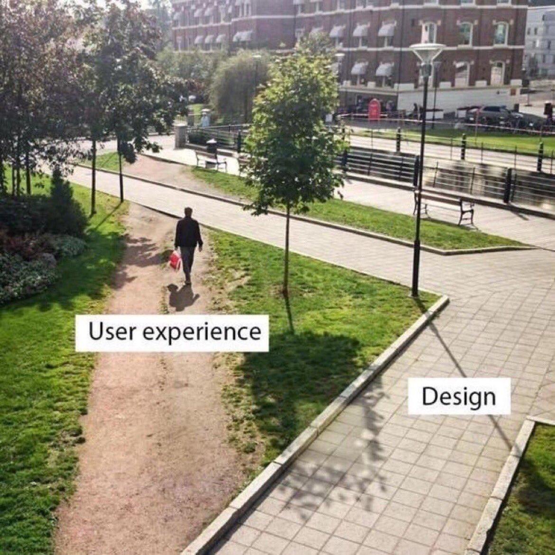 Eine Gehweg Ecke sowie eine Wiese die durch einen Mann abgekürzt wird. Typisches User Experience gegen Design Bild