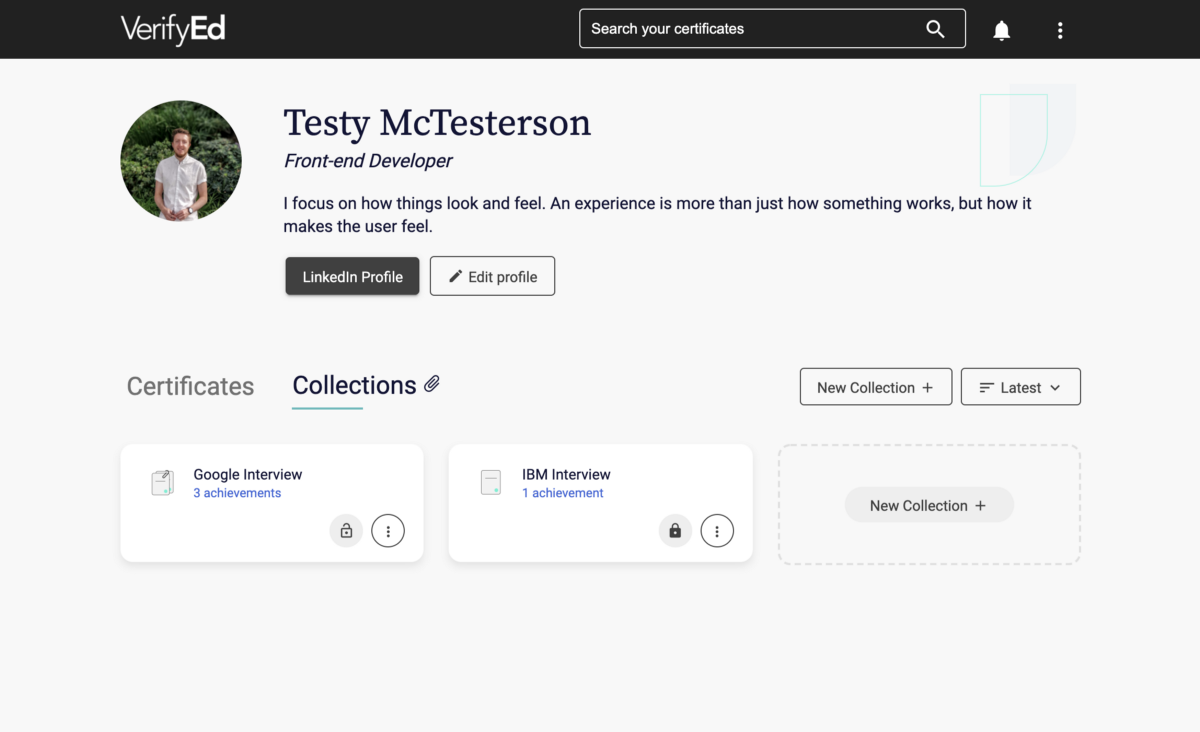 The new 'collections' area on VerifyEd, showing two of the user's collections.