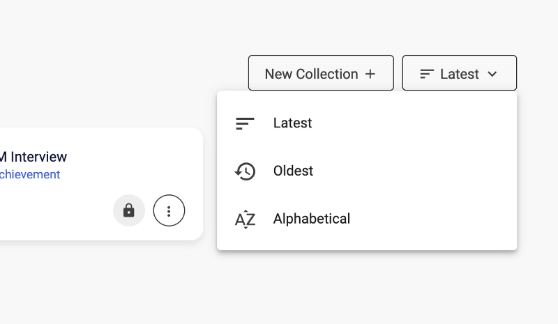 Sorting options on VerifyEd: Latest, Oldest and Alphabetical.