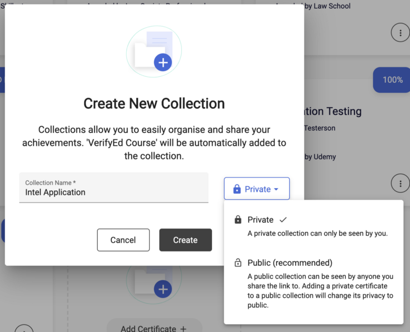 The interface which allows people to create a new collection.