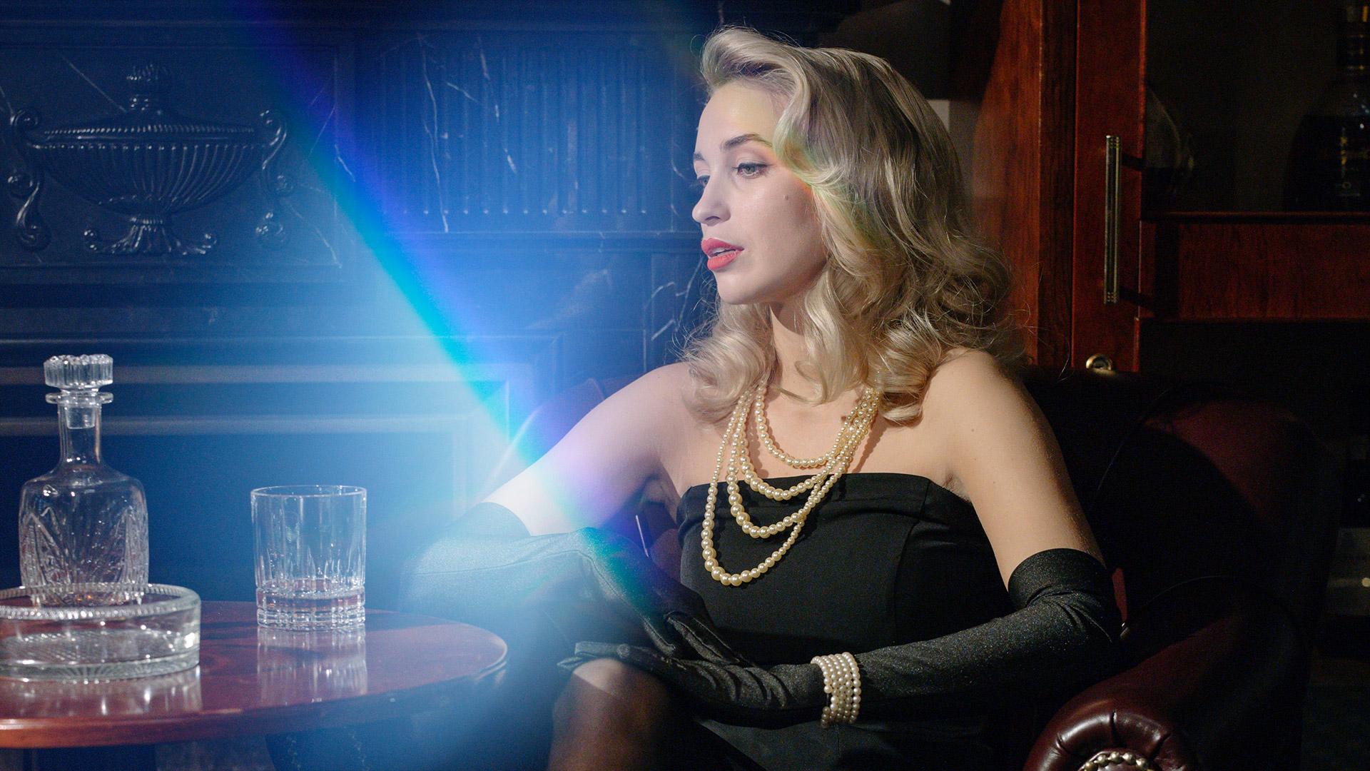 Frau mit Lichteffekt