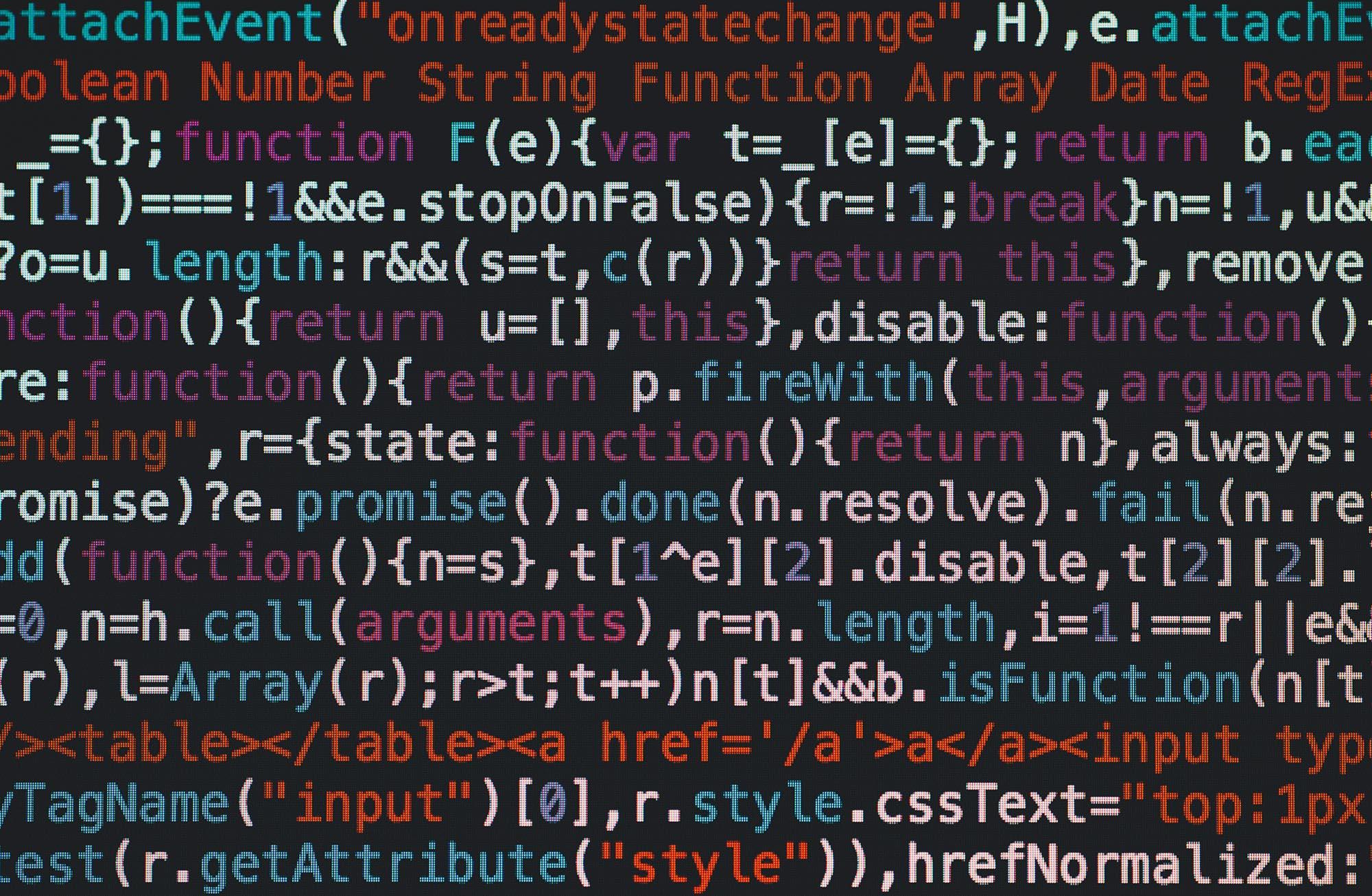 programmiersprache auf einem bildschirm