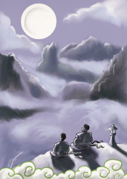 Tate and Master Po contemplating the Moon together.