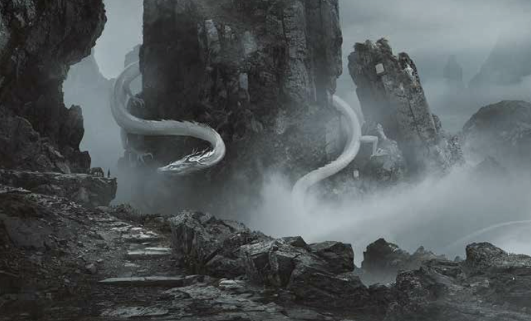 A white serpent coiled around a large protruding rock.