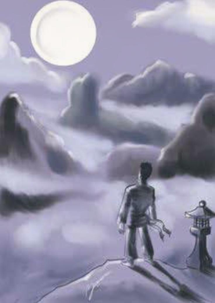 Tate atop Mount Wudan staring at the Moon.