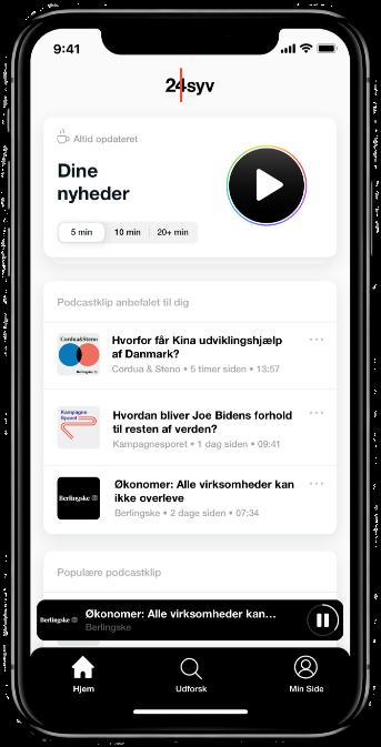 Mobil som viser 24syv app forside