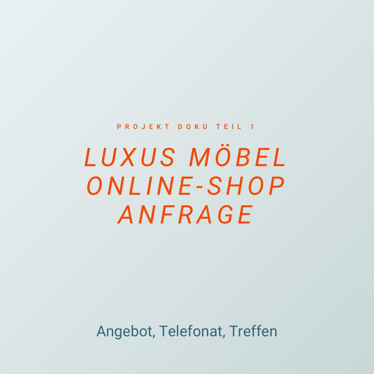 Luxus Möbel Online Shop Anfrage – Angebot, Telefonat, Treffen – Projekt Doku Teil 1