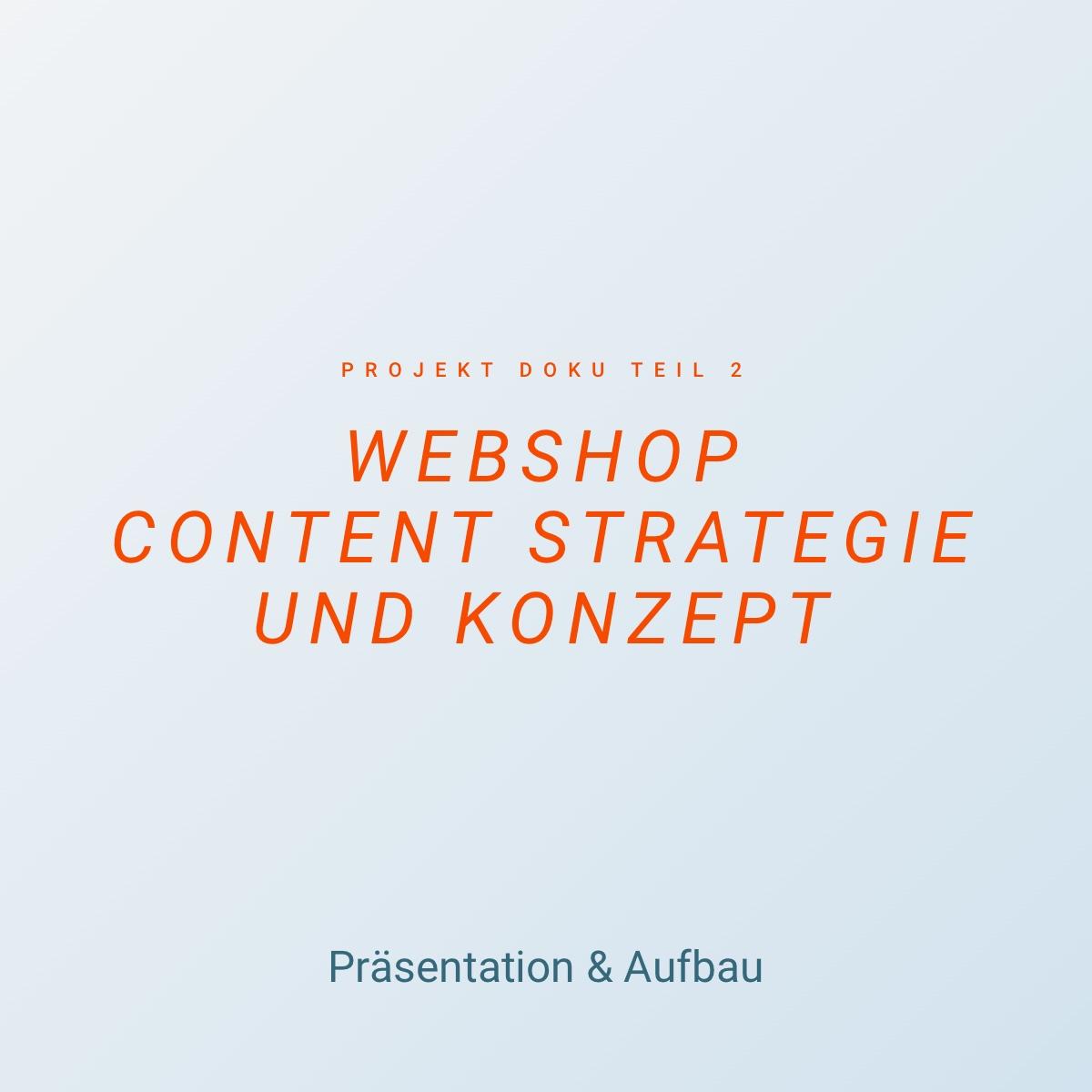 Webshop Content Strategie und Konzept - Präsentation & Aufbau - Doku 2