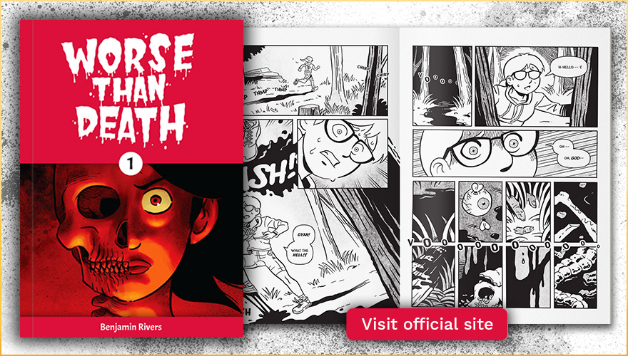Worse Than Death comic cover and sample spread, with a button to indicate this links to the official comic book page.