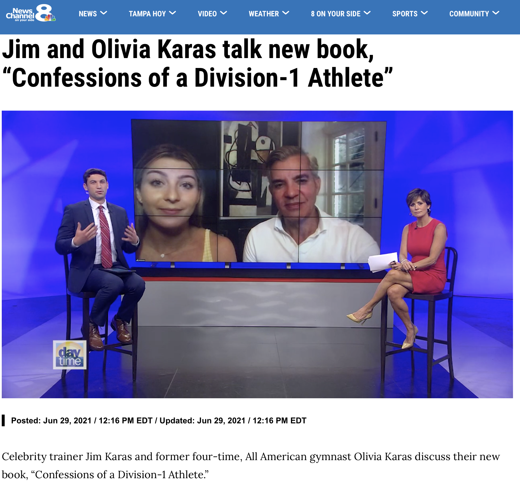 """Jim and Olivia Karas talk new book, """"Confessions of a Division-1 Athlete"""""""