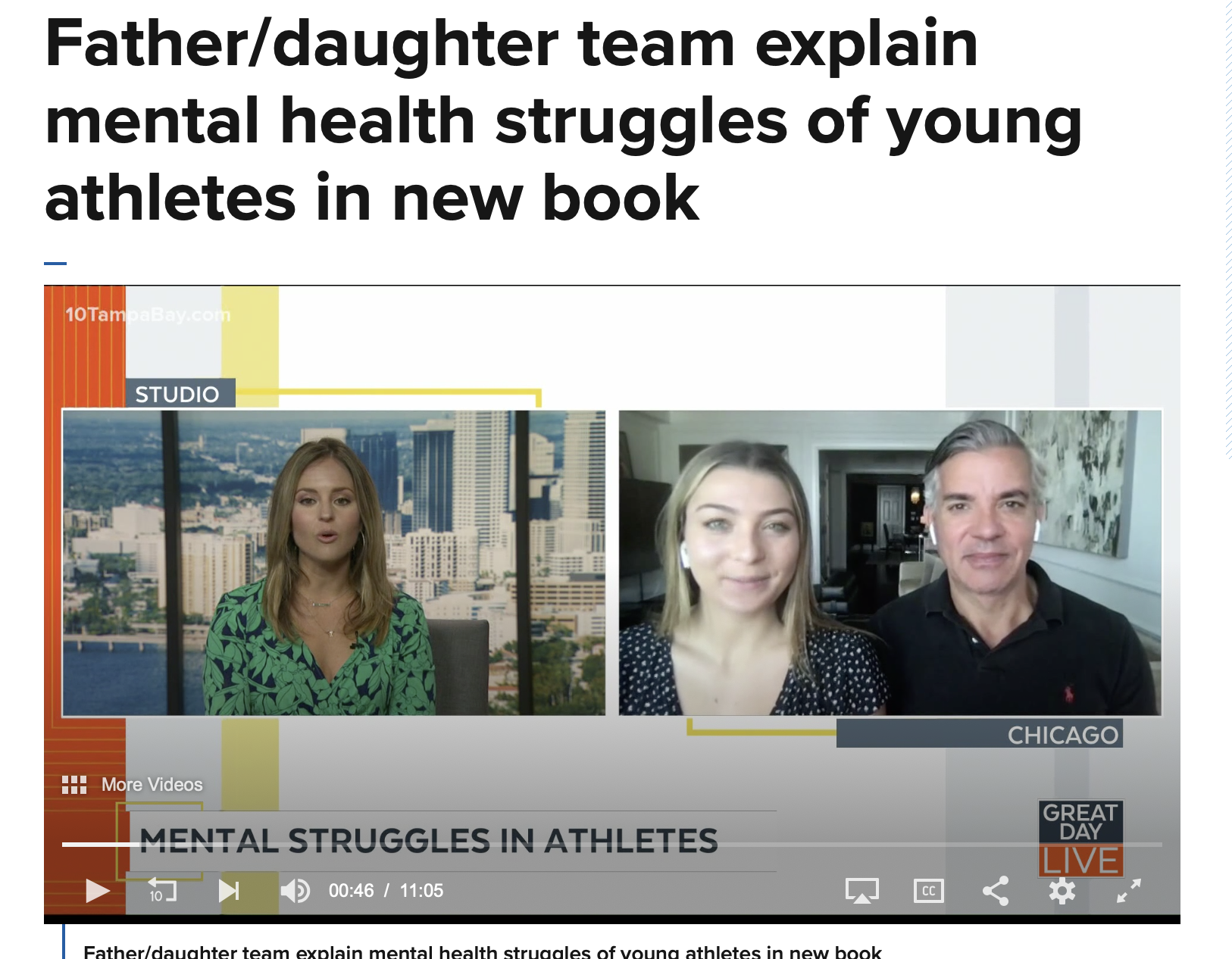 Father/daughter team explain mental health struggles of young athletes in new book