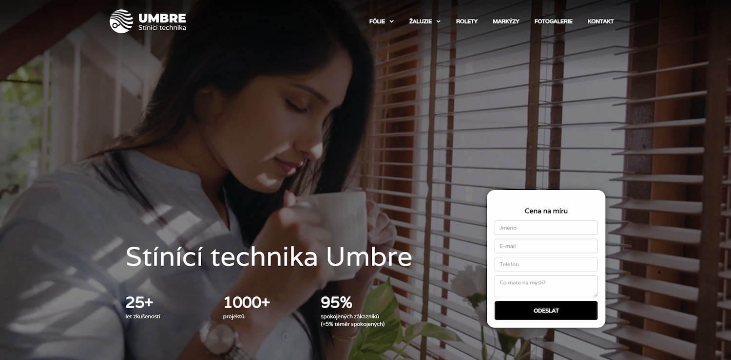 Umbre window blinds website main page showing lady drinking coffee and contact form