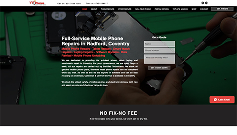 screenshoot of webdesign prohect for phone repair shop in Coventry