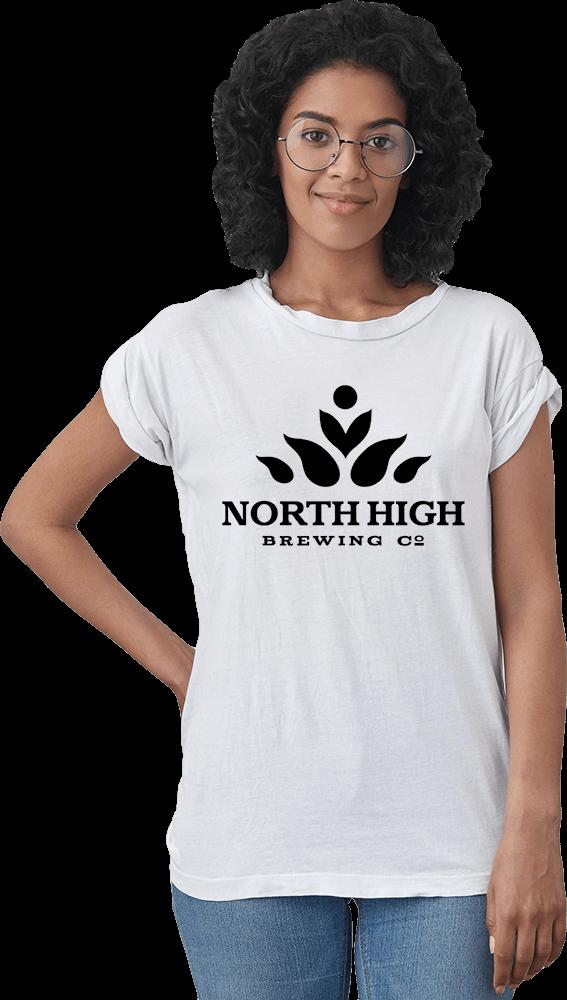 Women wearing logo t-shirt