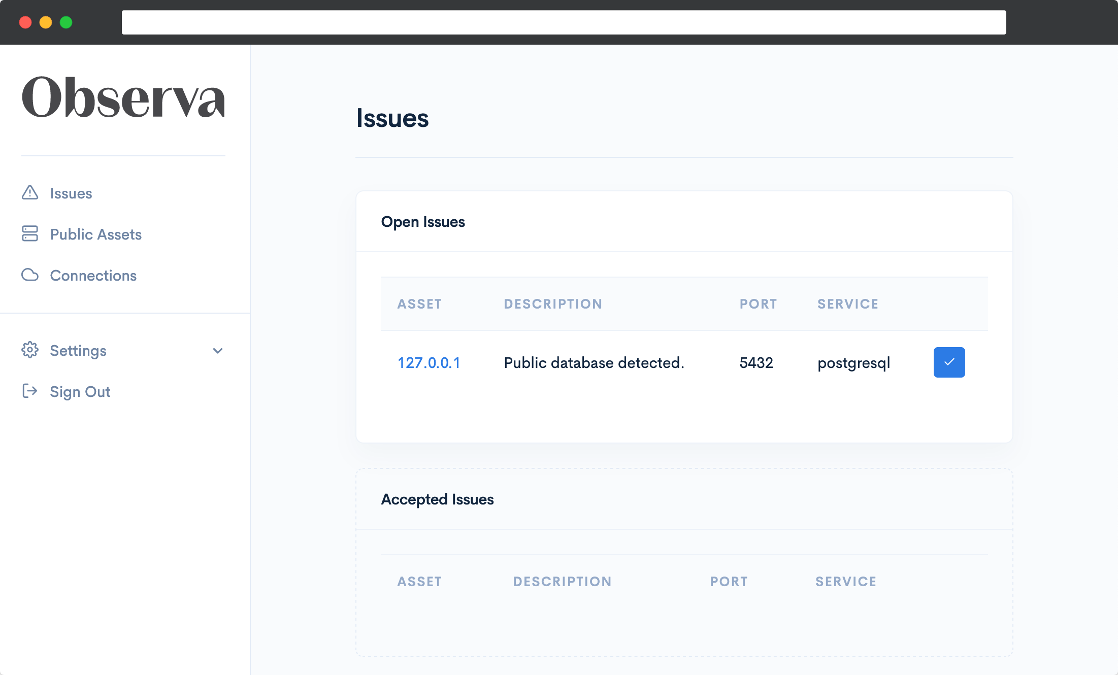 A screenshot of the Observa issues page showing a public postgresql database has been detected