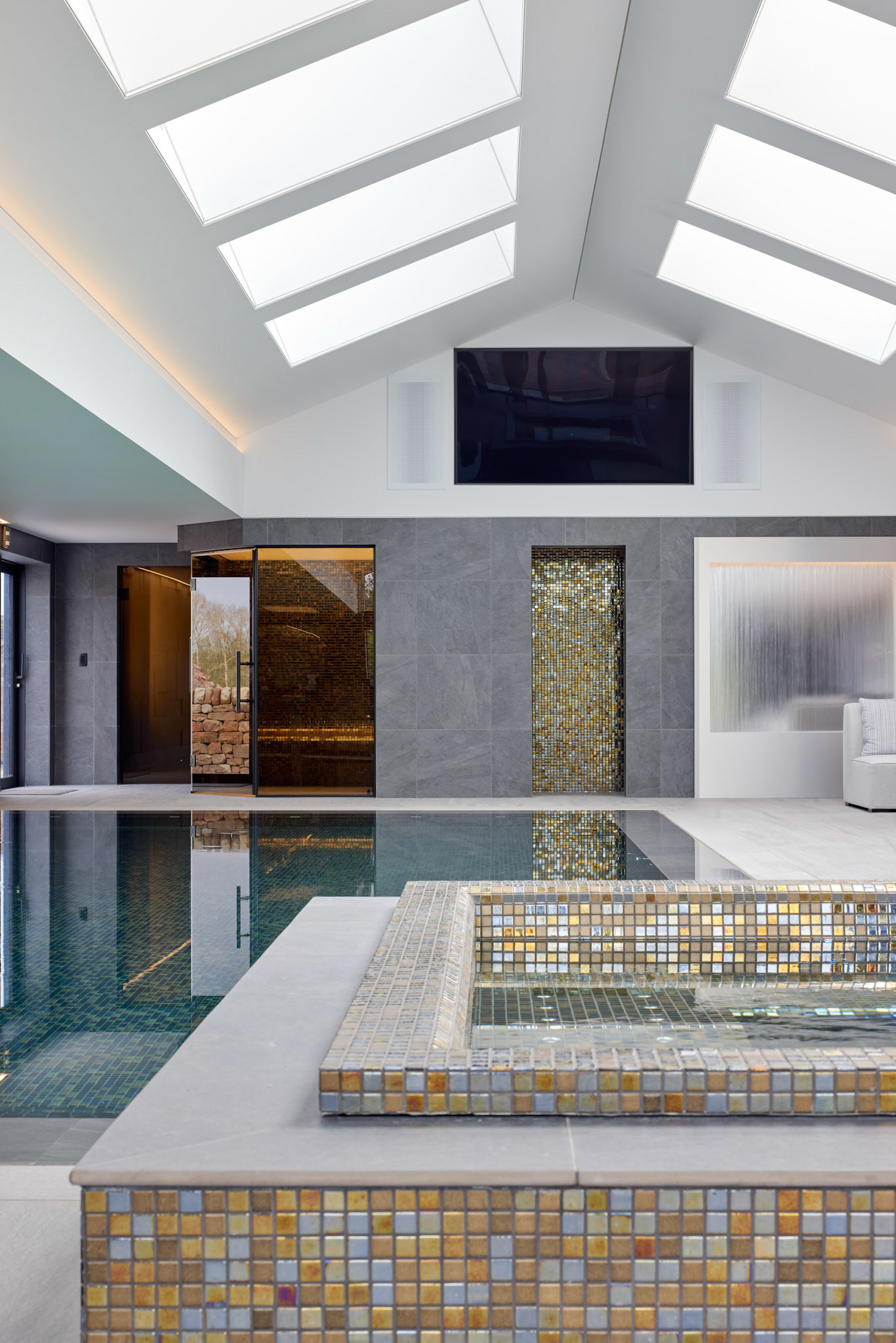 Architectural Photography Pool and Sp interior white with grey wall and gold tiles in purpose built home pool detail of gold tiles and pool in background