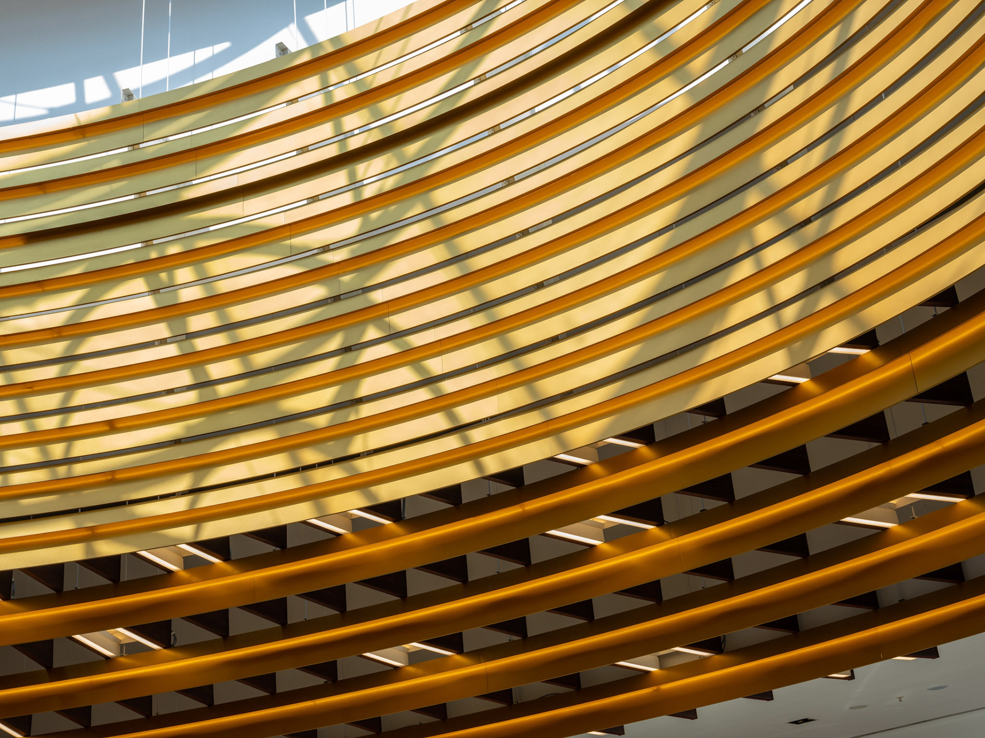 Architectural Photography Exchange Court in Manchester Arndale new roof detail close up circular with gold and blue sky