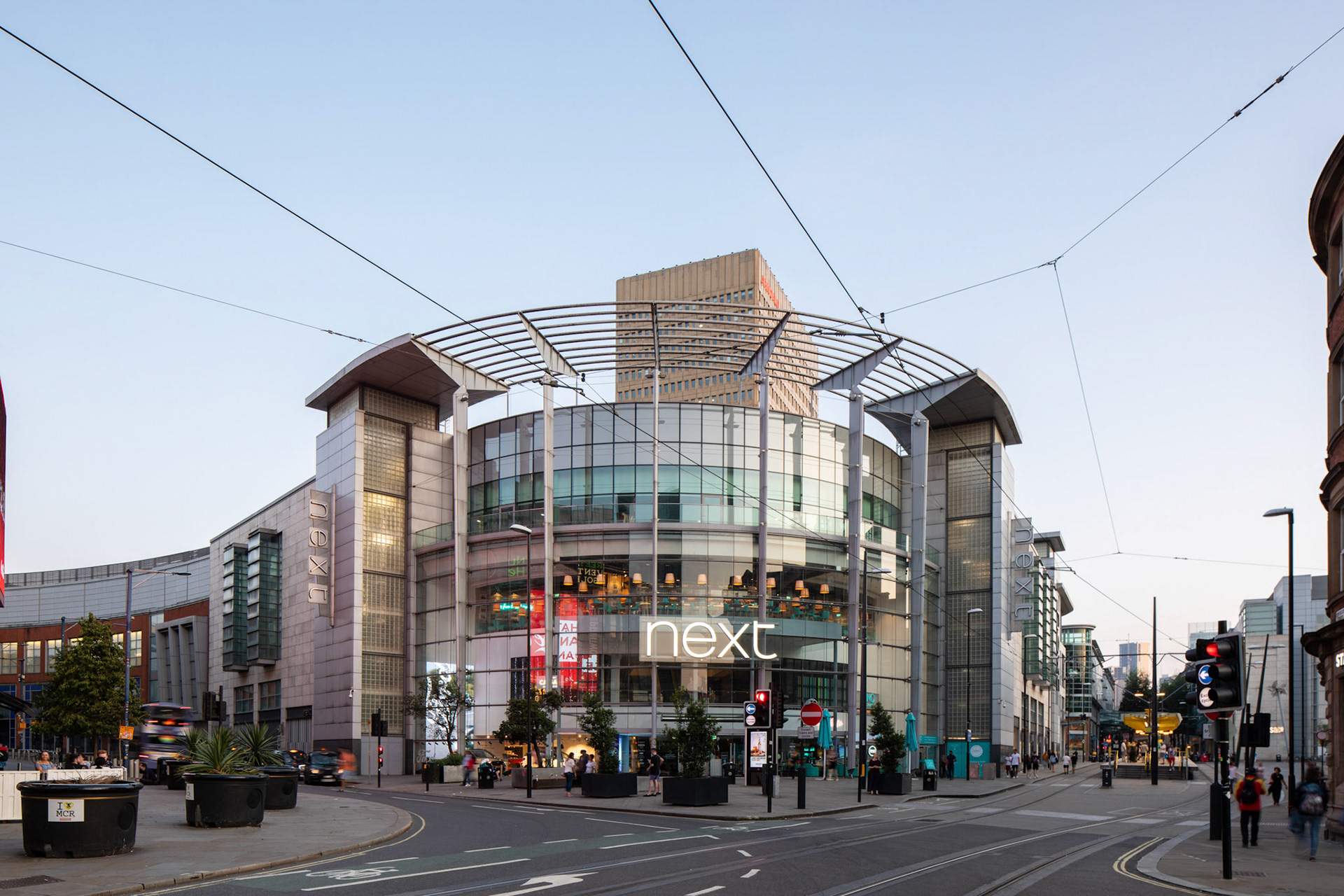 Architecture Photography Manchester Arndale Centre Next exterior with blue sky in the evening