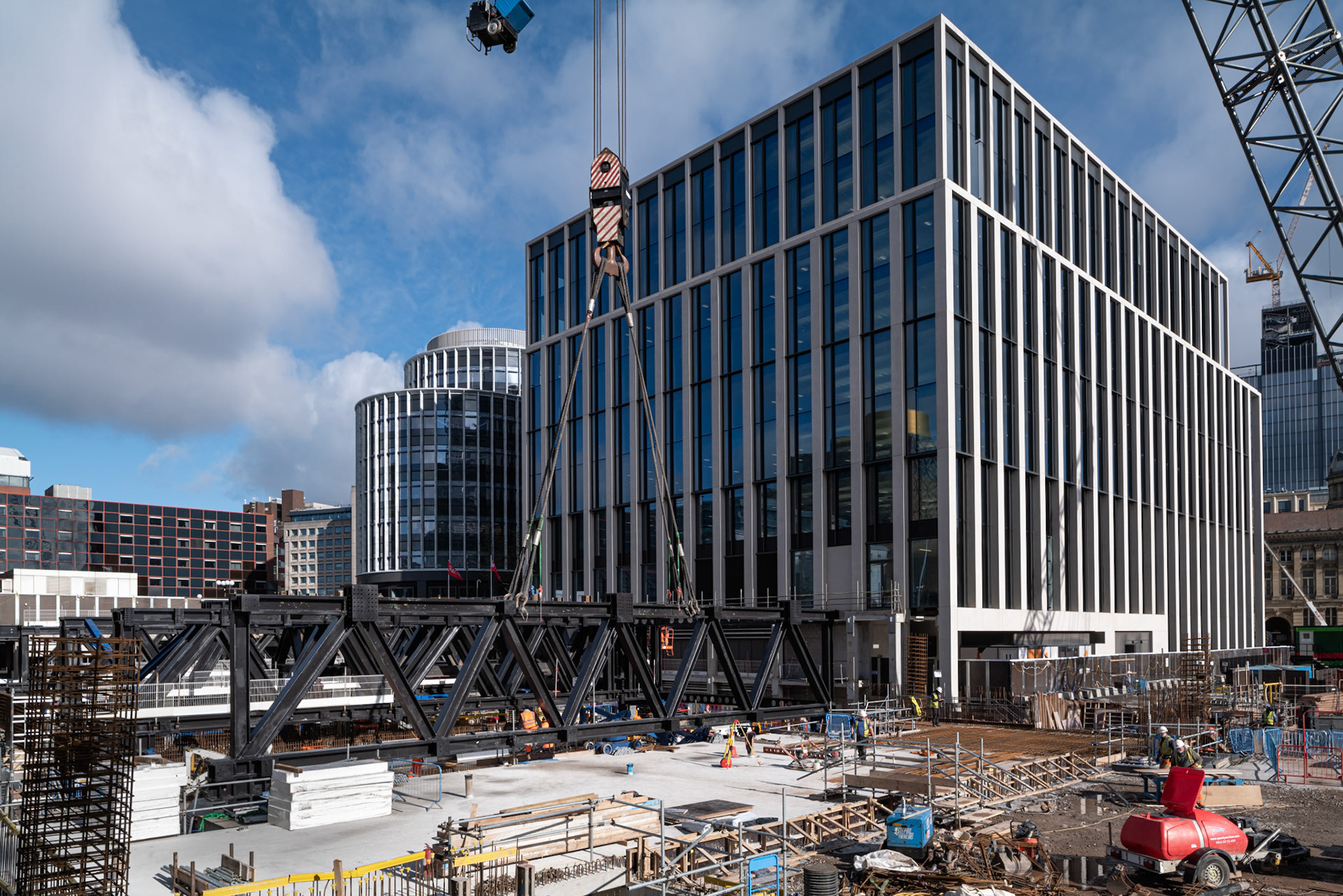 Construction Photography Metal work outside in blue sky in Birmingham