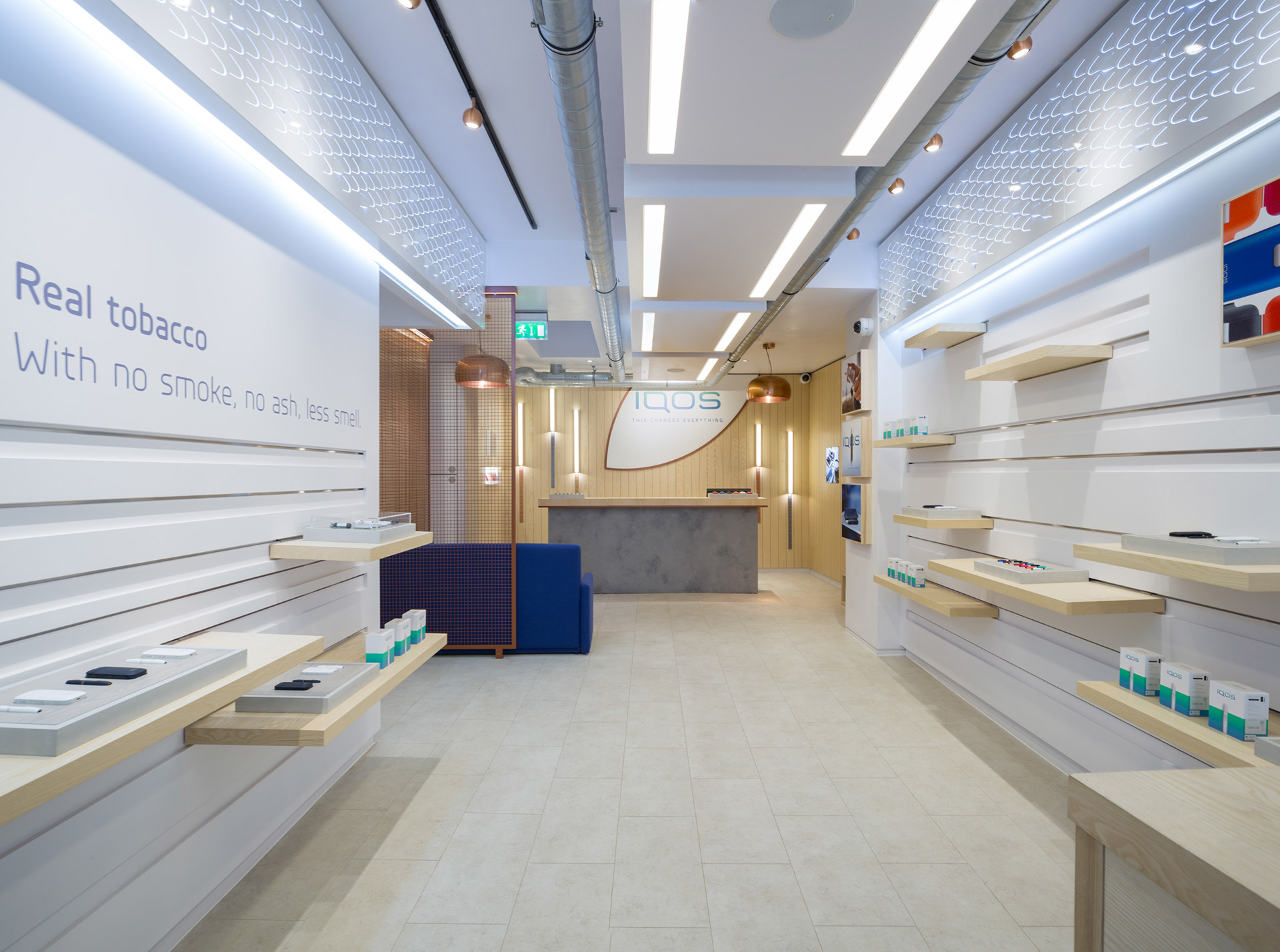 Architectural Interiors at IQOS Store in Soho wide image