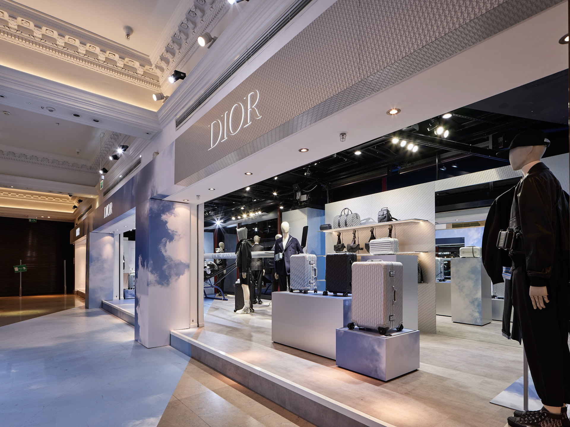 Retail photography dior rimowa at harrods london indside wide view at pop up store
