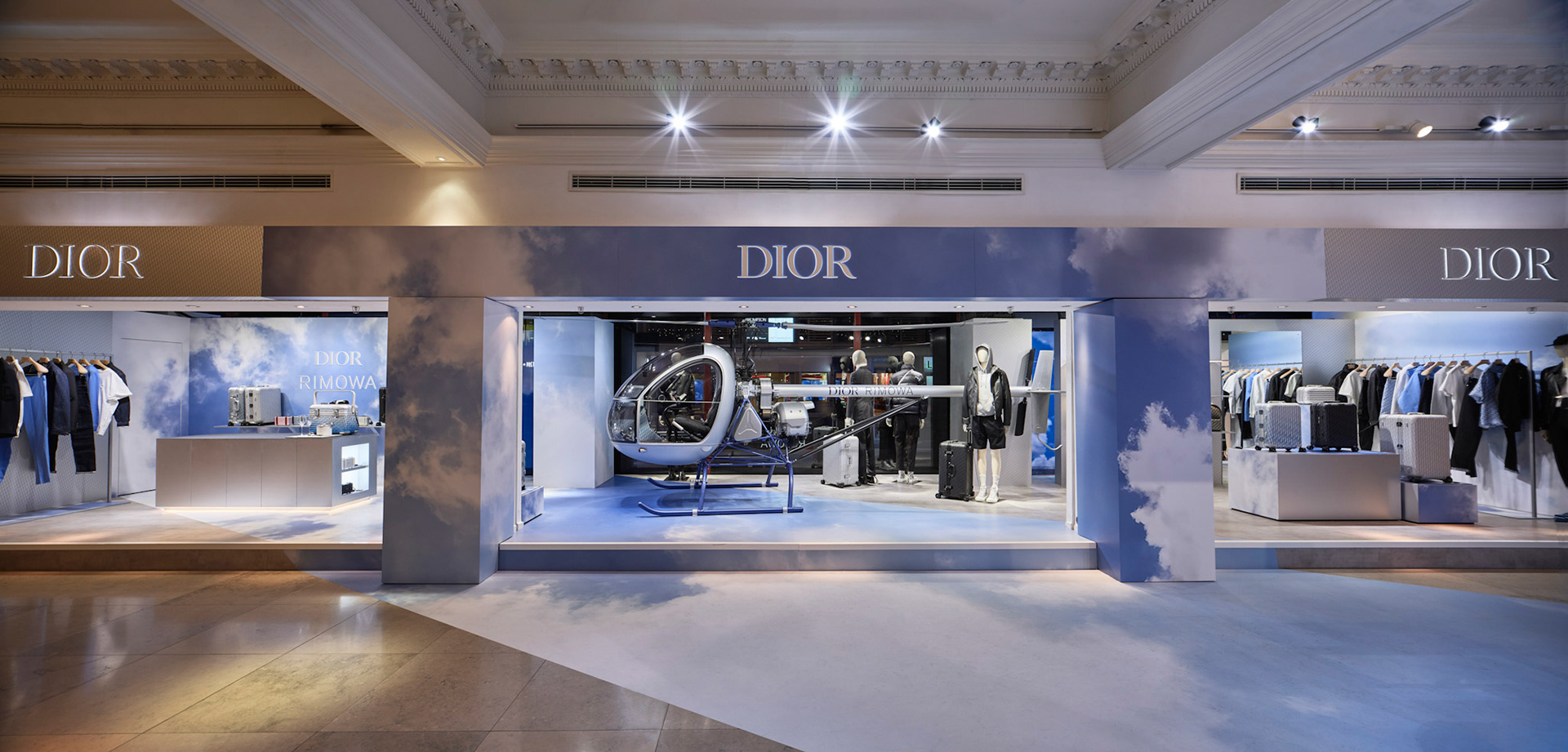 Retail photography dior rimowa at harrods london wide panoramic with helicopter