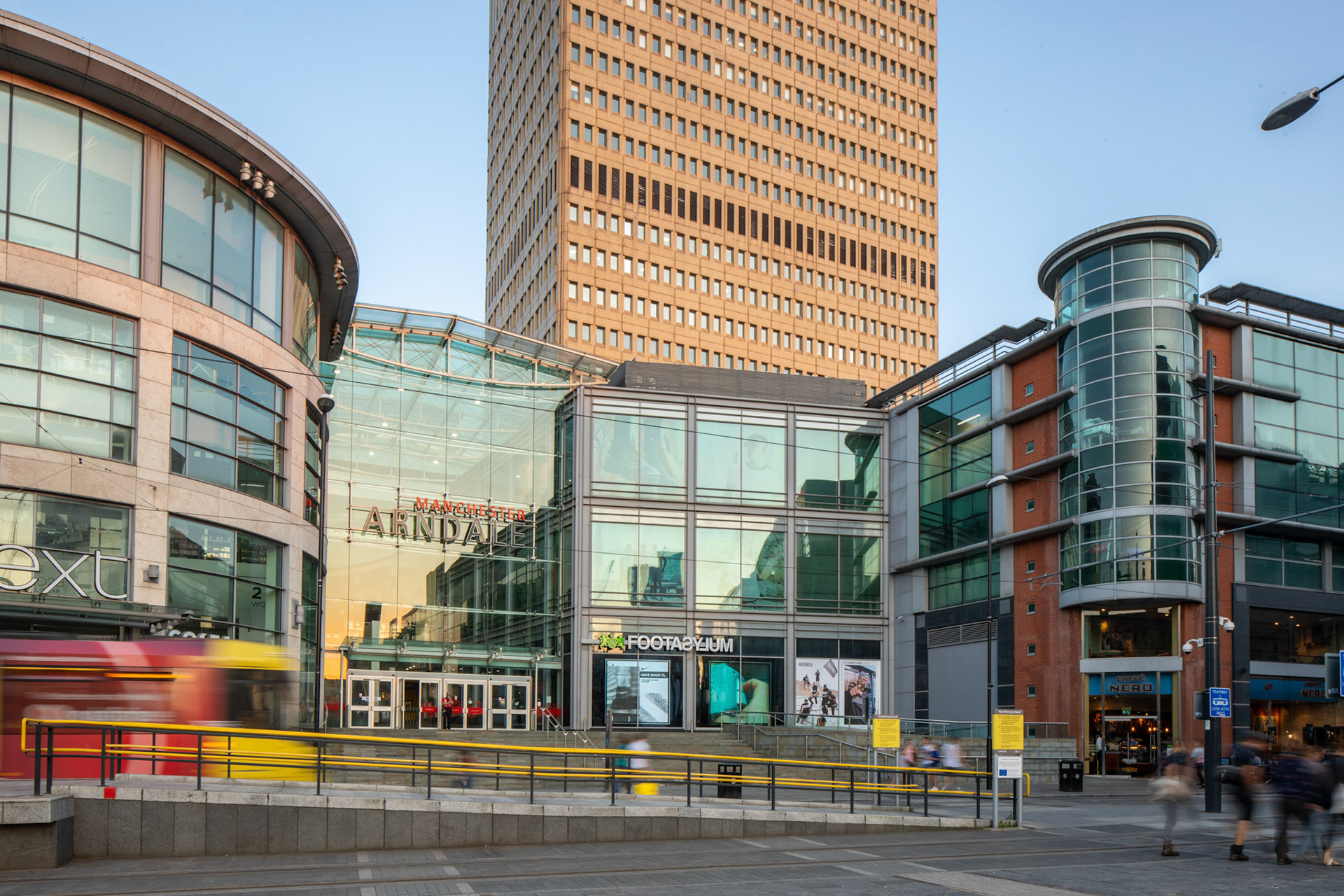 Architecture Photography Manchester Arndale Centre exterior front entrance with tram