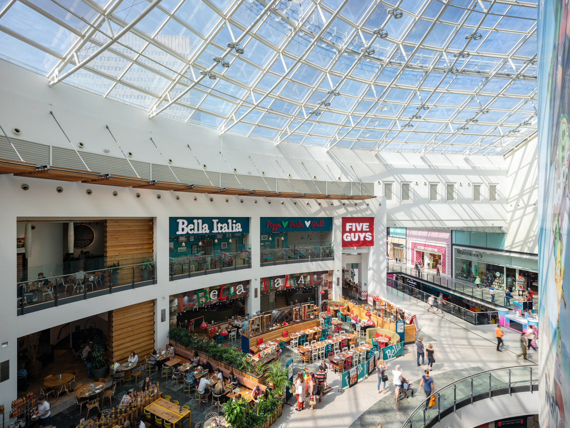 Architecture Photography Manchester Arndale Centre interior featuring five guys