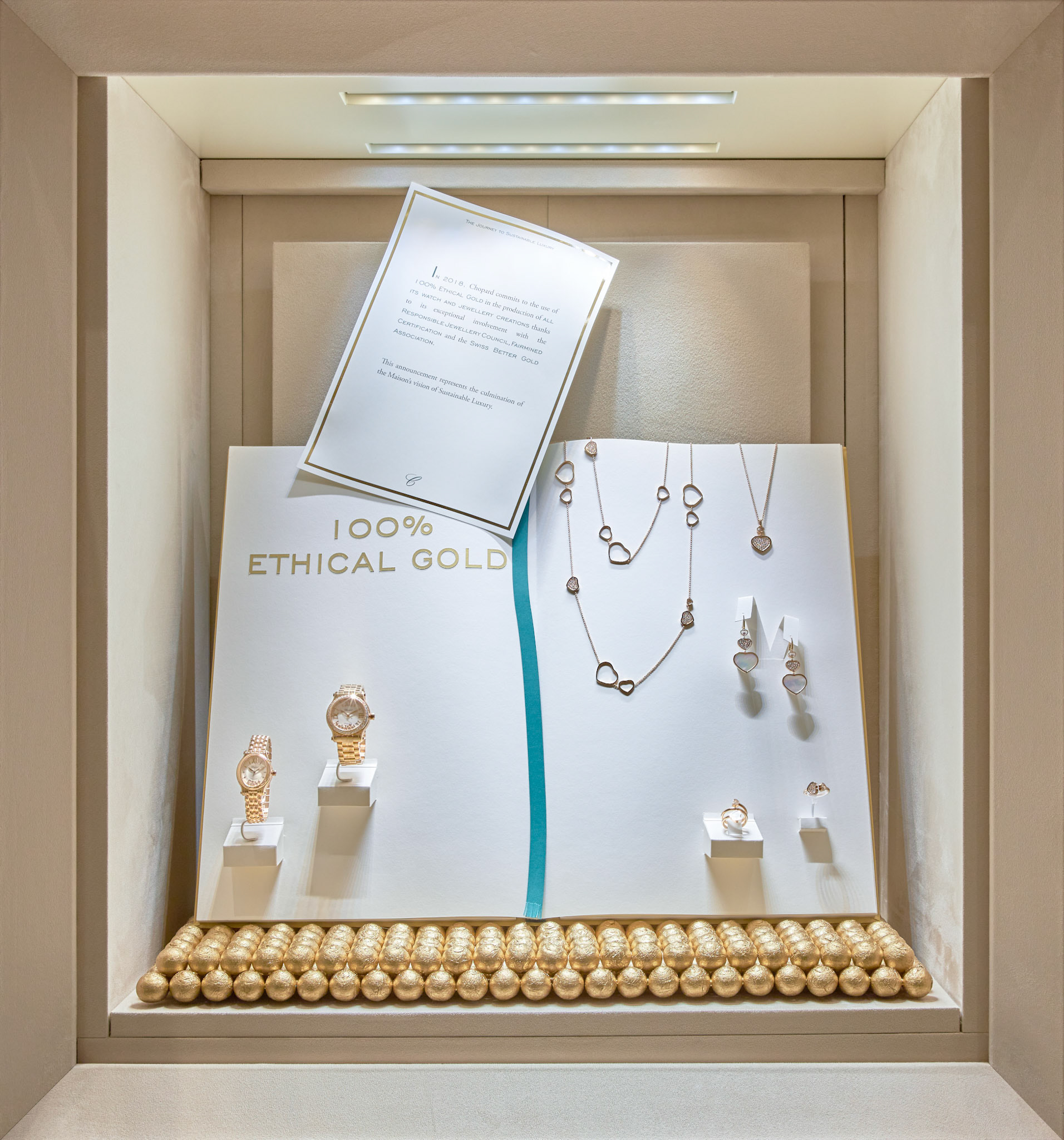 Retail Photography Chopard window with 100% ethicall gold with watches and display