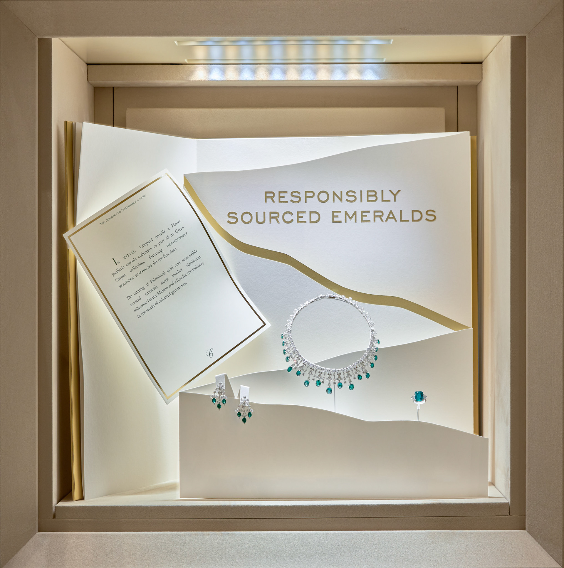 Retail Photography Chopard window with responsibly sourced emerald