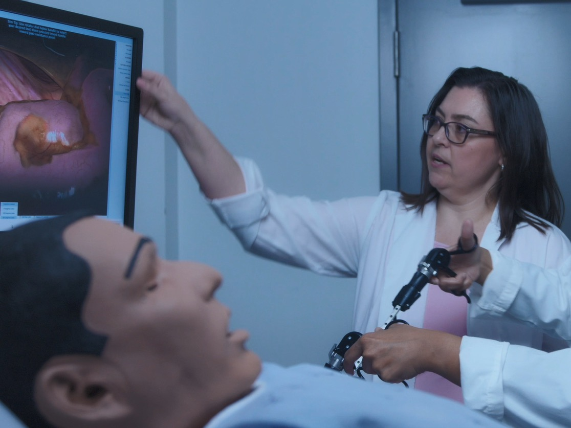 Image of doctor interacting with simulation tools
