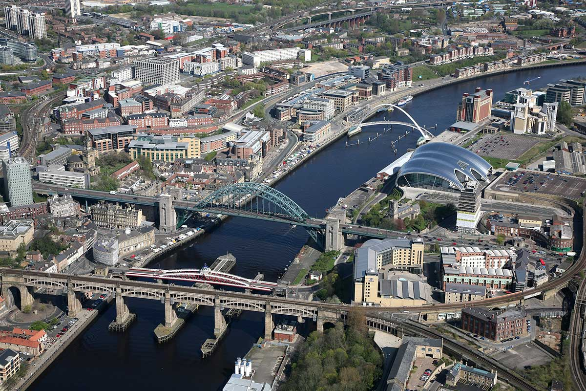 Aerial image example showing Newcastle and Gateshead