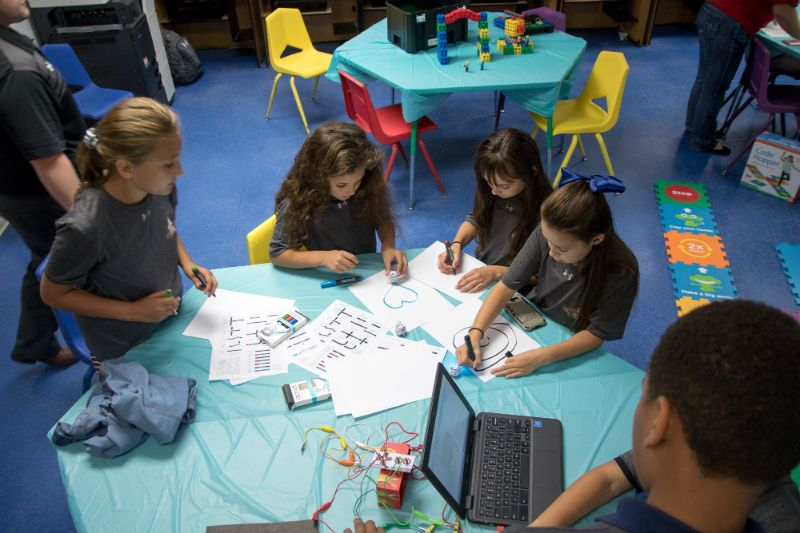 Students participating in group activity