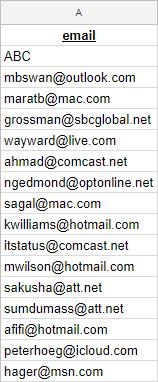Spreadsheet example for Intercom