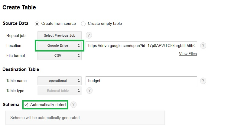 Guide to sharing spreadsheet to bigquery