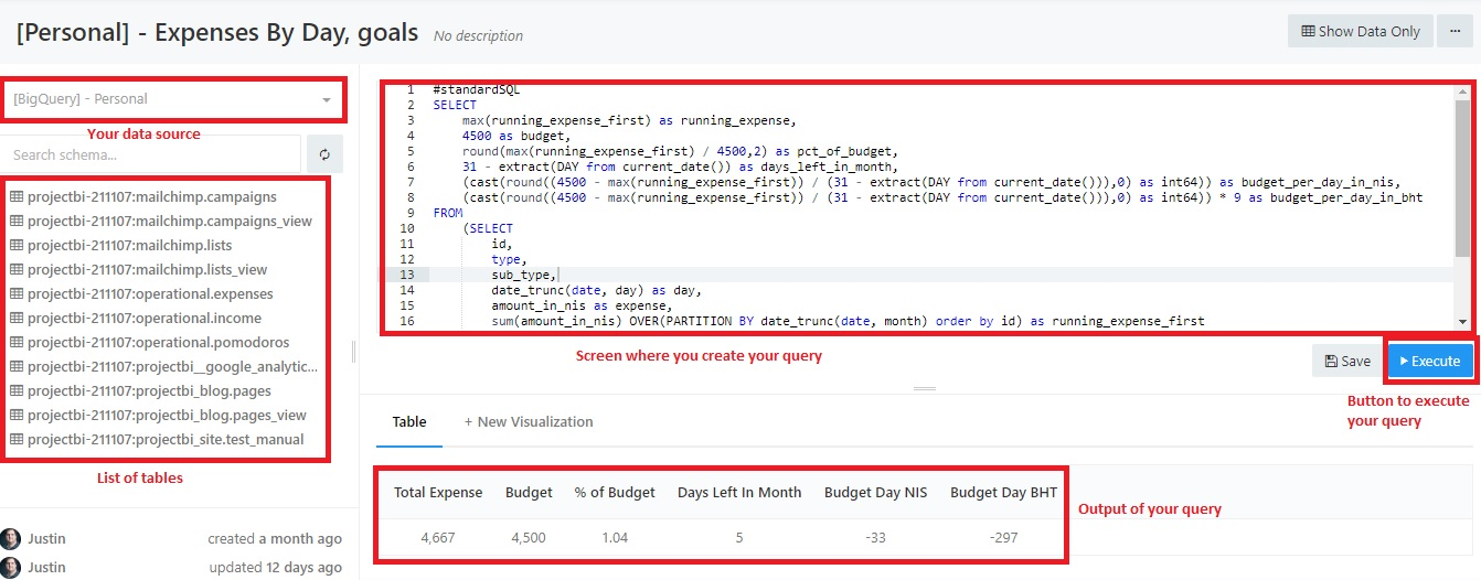 How to create a query in redash support