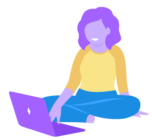 Decorative image, a caricature of the designer, Sharnia, working on a laptop