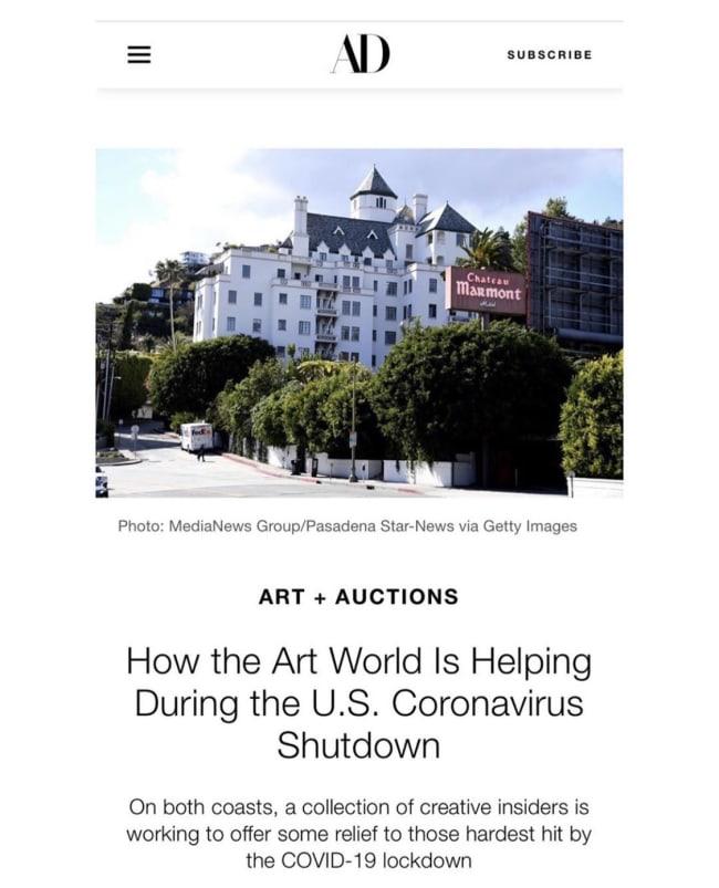 HOW THE ART WORLD IS HELPING DURING THE U.S. CORONAVIRUS SHUTDOWN