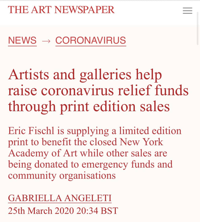 PRINT AID LAUNCHES: A COLLABORATIVE PROJECT TO SUPPORT ARTISTS DURING THE COVID-19 PANDEMIC