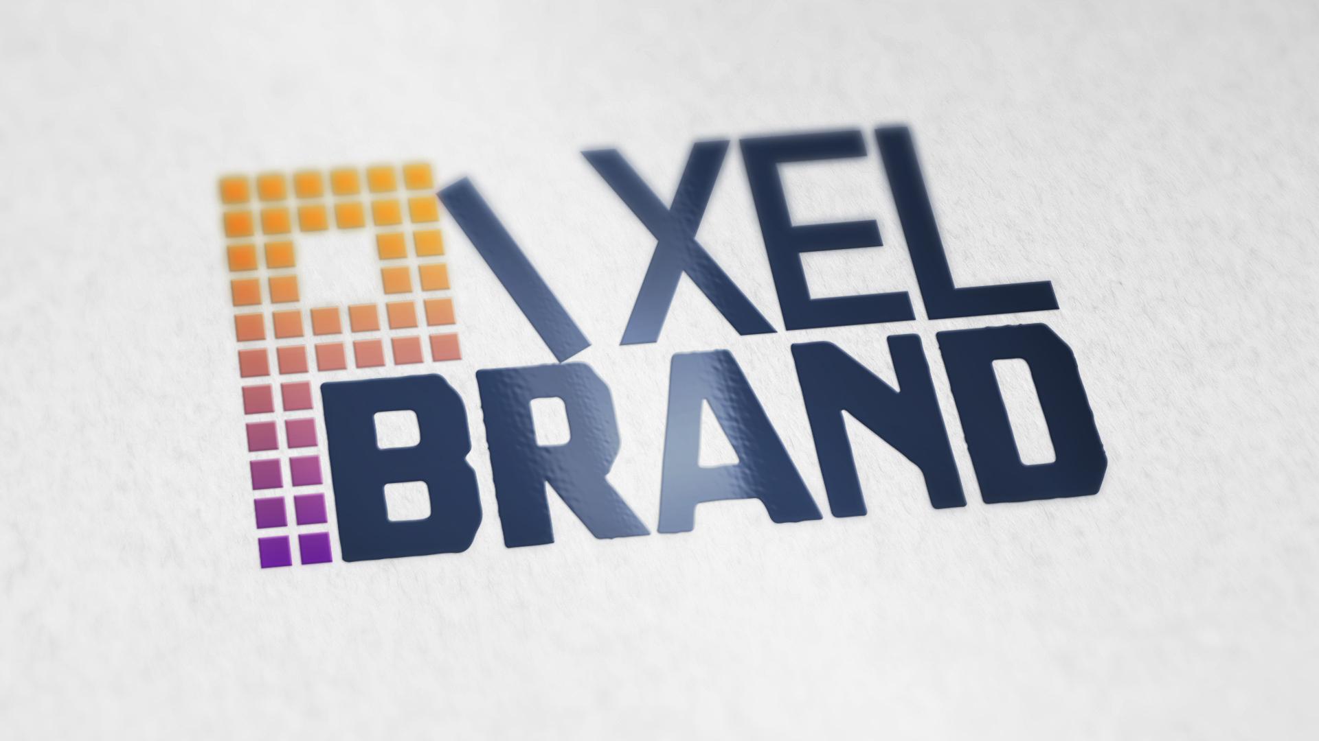 Pixel Brand's logo varnished