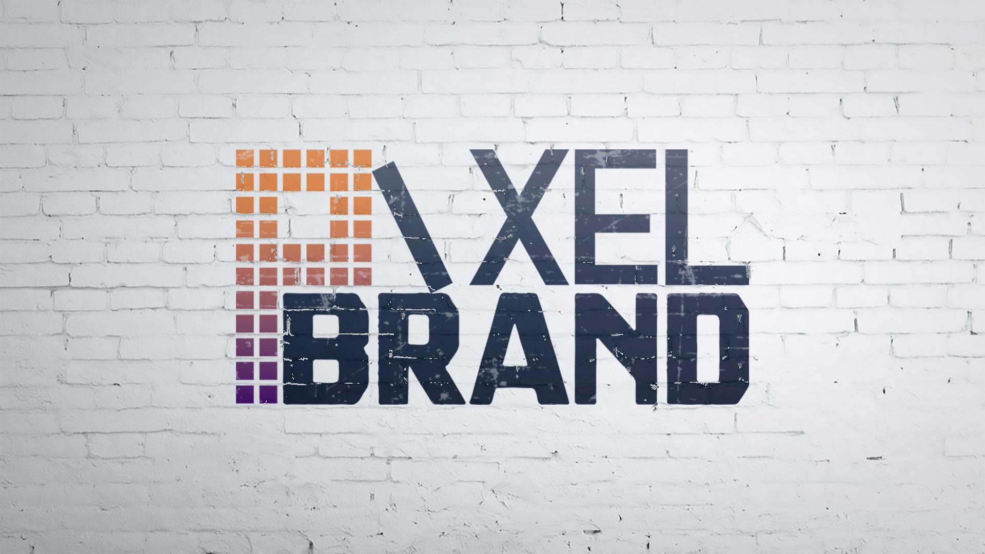 Pixel Brand's logo on a white wall