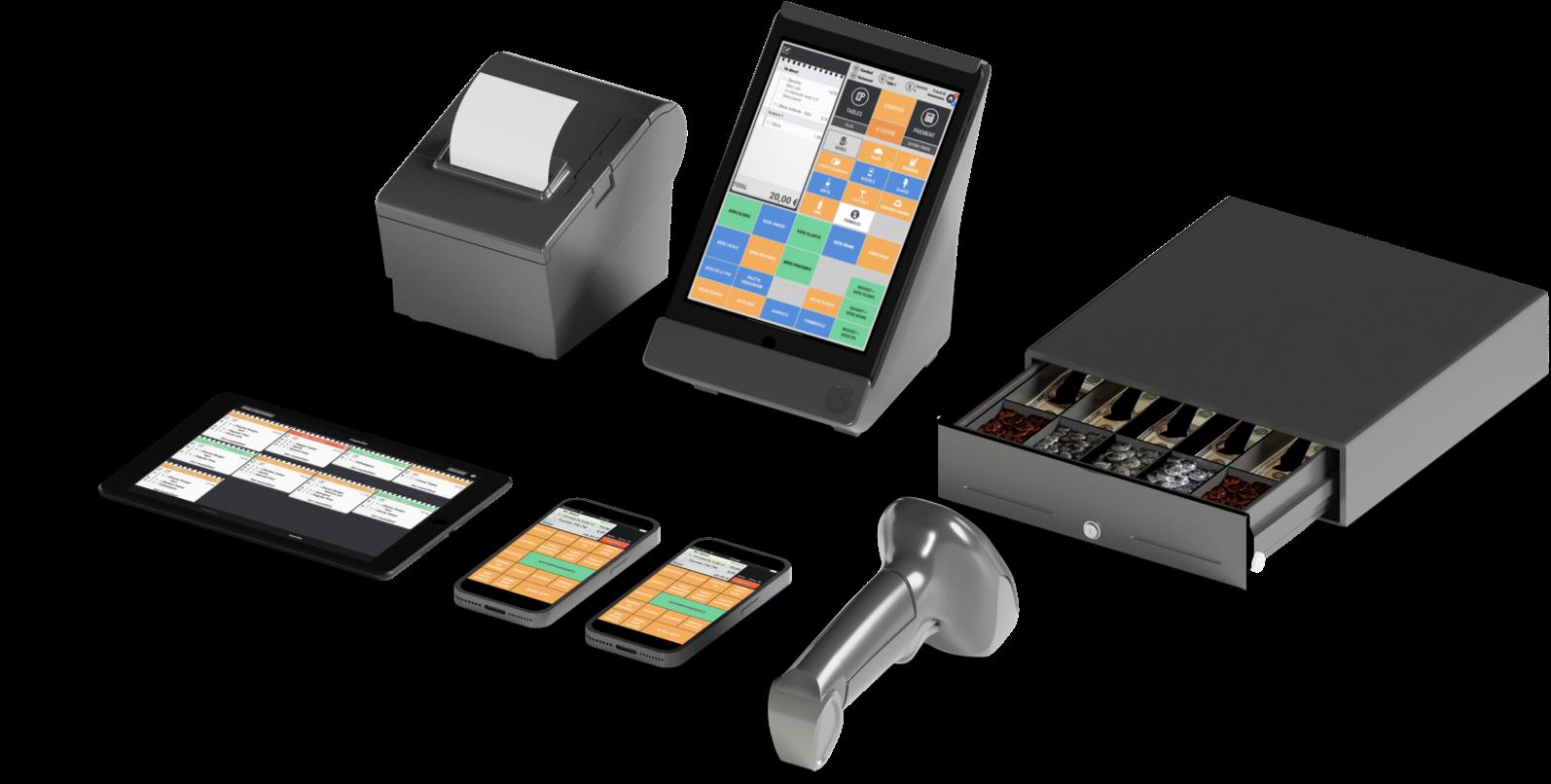 Cashpad POS, Caisse Enregistreuse iPad avec tous les accessoires. Imprimante de production et facturation, Cashpad KDS - Écran cuisine, Télécommande iPhone / iPod, Scanner de code-bar, Tiroir Caisse.
