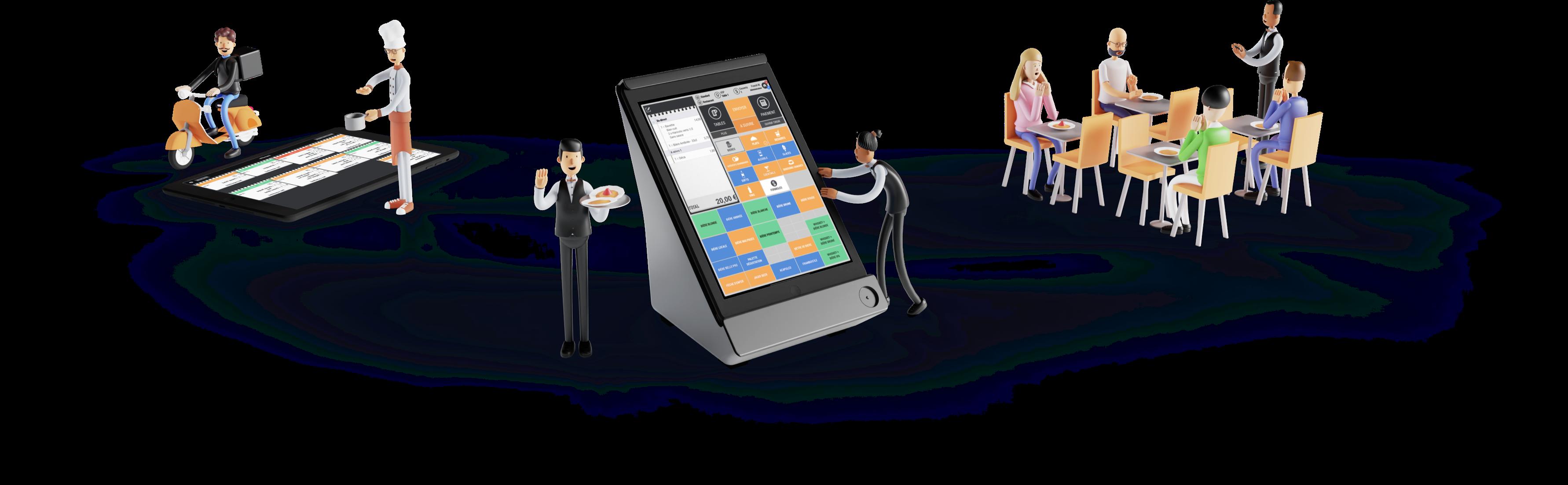 Cashpad POS - Caisse enregistreuse iPad utilisé par les serveurs d'un restaurant.  Cashpad KDS, Écran cuisine utilisée par un chef cuisinier, et livreur Uber Eat et Deliveroo.  Salle de restaurant, avec des clients qui mangent heureux d'être servis avec Cashpad.