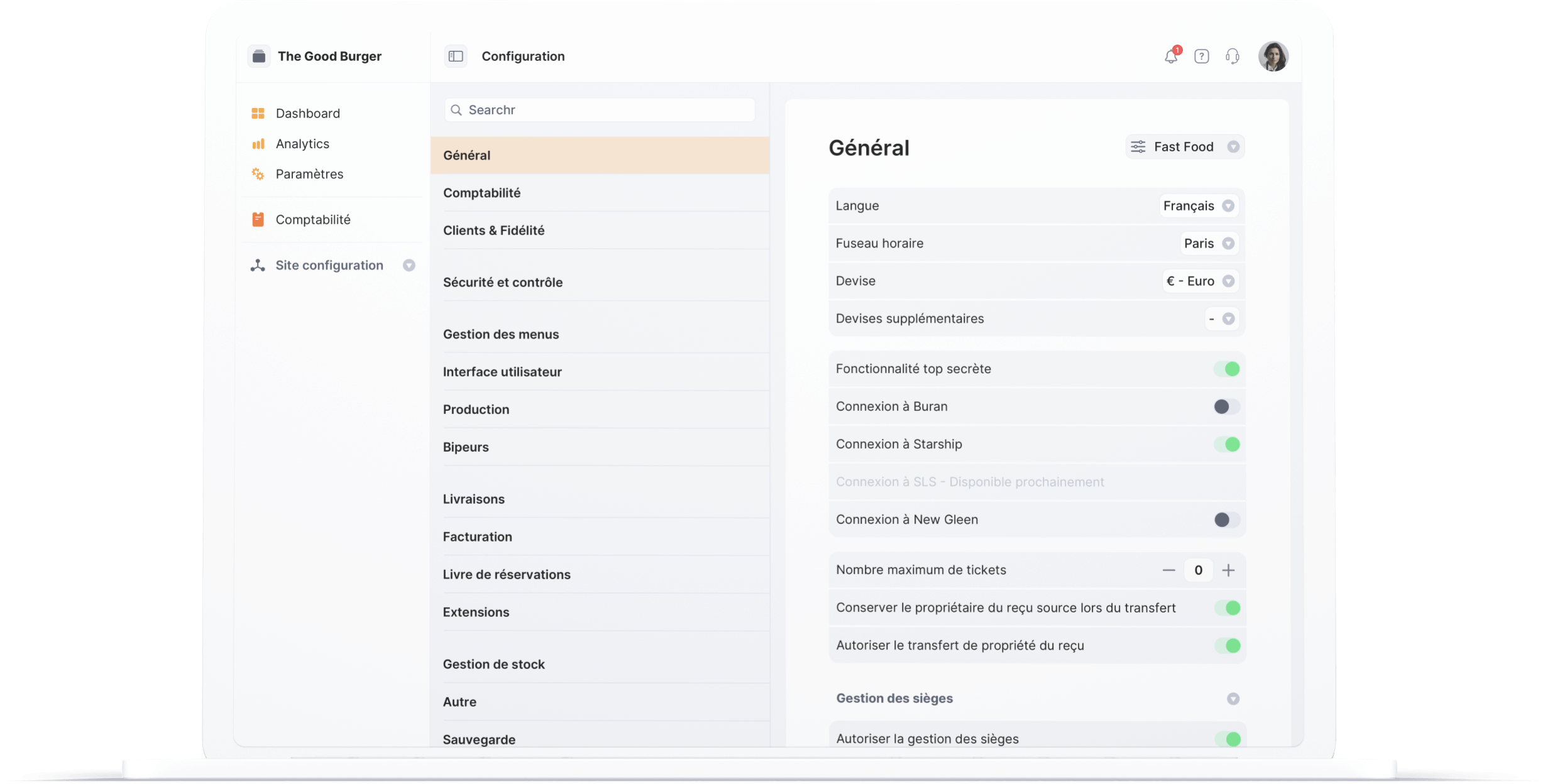 Configuration multi site - Cashpad Back Office V2 pour Caisse Enregistreuse iPad - Plateforme POS tout-en-un
