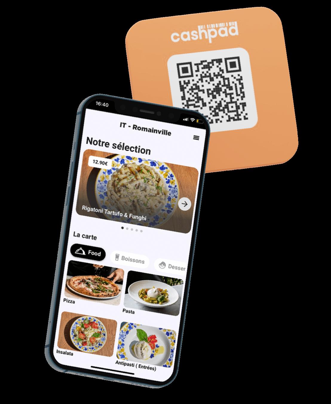 Commande à table via QR code ou NFC et le menu digital avec Cashpad +